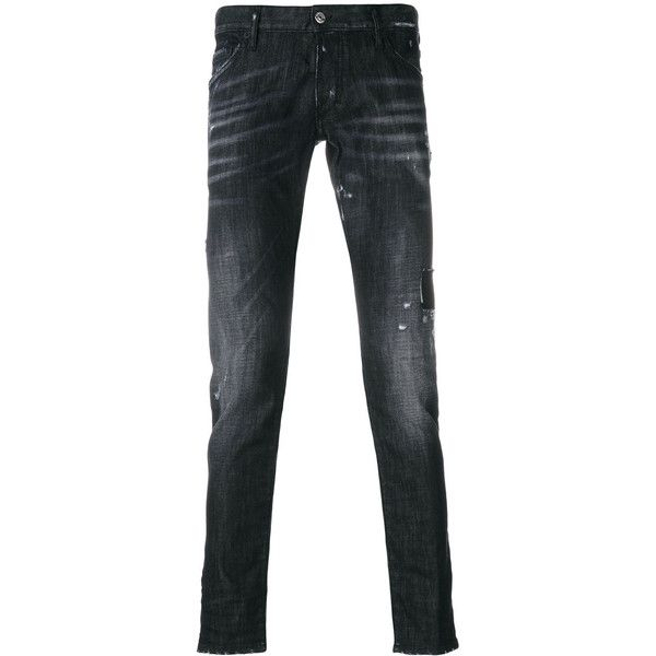 Dsquared2 Clement jeans ($595) ❤ liked on Polyvore featuring men's fashion, men's clothing, men's jeans, black, mens skinny jeans, mens distressed skinny jeans, mens ripped jeans, mens super skinny jeans and mens low rise jeans