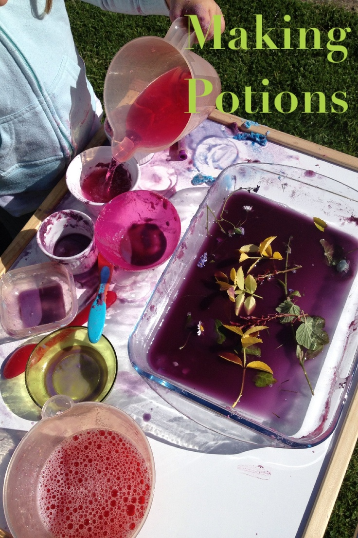 Making potions! Little one loves this. Her imagination runs wild as she explores colour mixing and texture whilst working on pouring and stirring. Today we had food colouring, water, baking soda, flowers, bubbles and dirt! Anything goes really!   Adventures with Isla-Brae