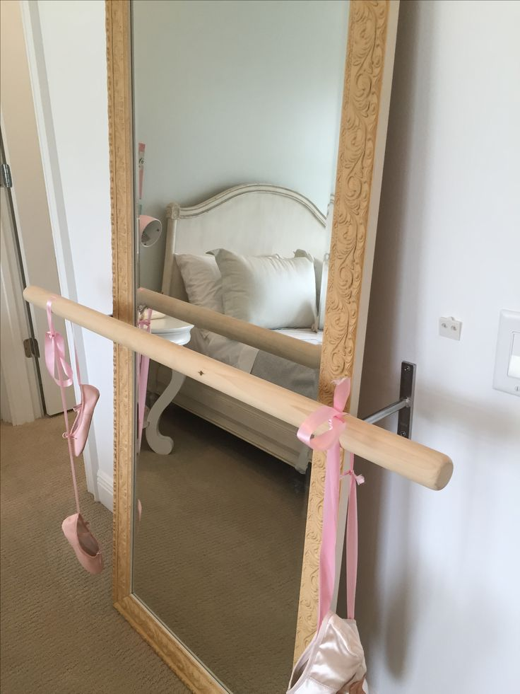 Great way to easily add a ballet barre for your daughter.  Long leaning mirror with railing or wooden dowel mounted to the wall.     Ballet Barre, Girls Room, Mirror and Bar.