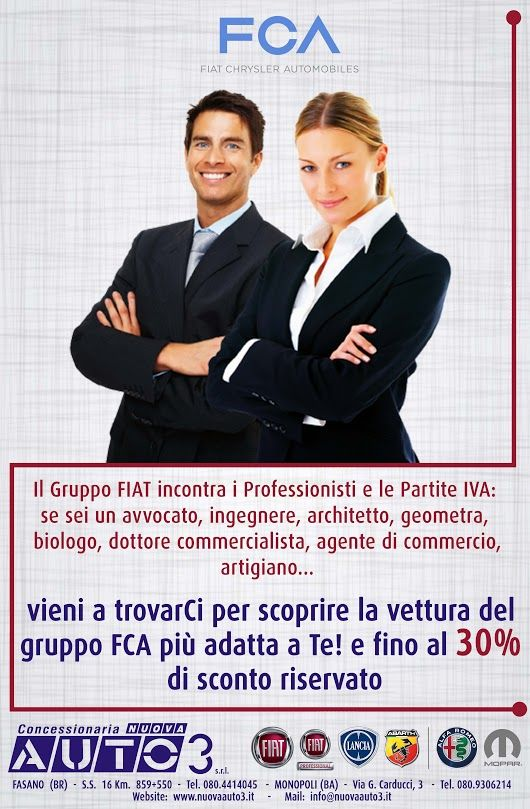 Sei un #avvocato, #ingegnere, #architetto #geometra #biologo #dottore #commercialista #agente di #commercio, #artigiano...  #Fiat incontra i #Professionisti e le #partiteiva.  Vieni a trovarCi, fino al 30% di #sconto riservato.