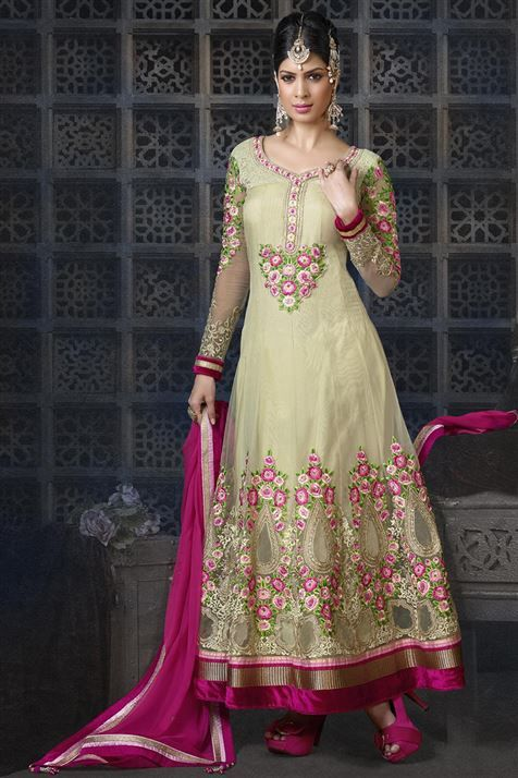 Elegant & Ravishing Beige, Deep Pink Net Floor Touch Anarkali Suit