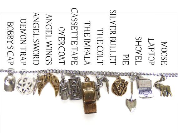 The Road So Far Charm Bracelet Inspired by Supernatural by VeritasCrafts. With charms for Sam, Dean, Crowley, Castiel and Bobby. I NEED IT