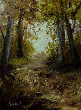"Saatchi Art Artist ΑγγελικΗ  Aggeliki; Painting, ""Autumn path"" #art Size: 40 H x 30 W x 1.5 cm"