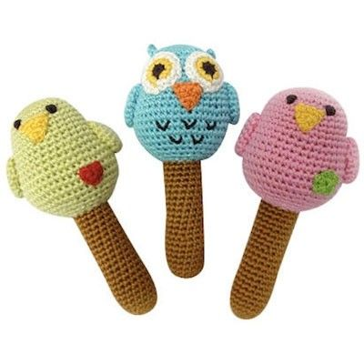 Crochet animal baby rattles - would be cute shower gift toppers.