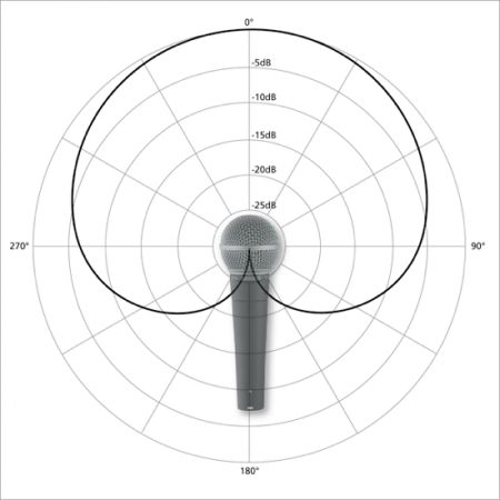 A typical Cardioid pick up pattern on a dynamic microphone: http://ledgernote.com/columns/studio-recording/microphone-pickup-patterns-directionality/