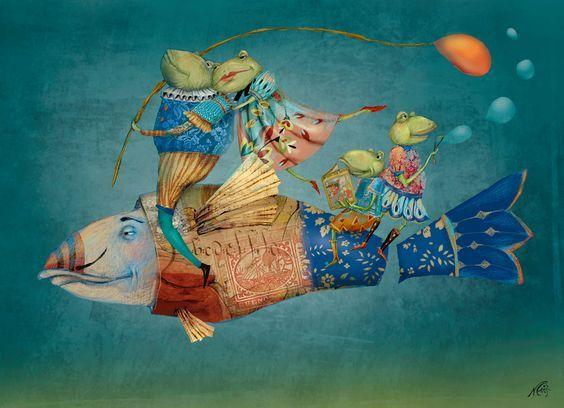 Ilustración de Nerina Cazi. La unión familiar, la vida en el fondo marino, la semejanza del pez con uno de nuestros medios de transporte... Me gustan los colores, los estampados, la delicadeza de cada detalle. Bella ilustración.