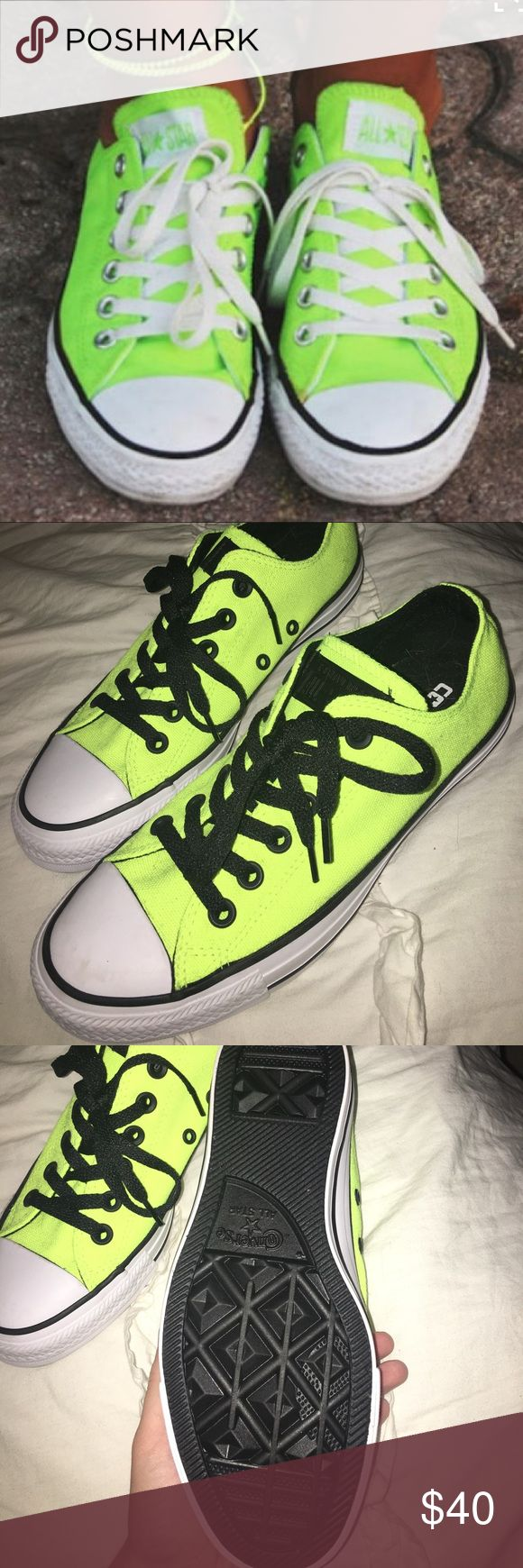 neon yellow low top converse neon yellow low top converse with black laces & NEVER WORN!!! Converse Shoes Sneakers
