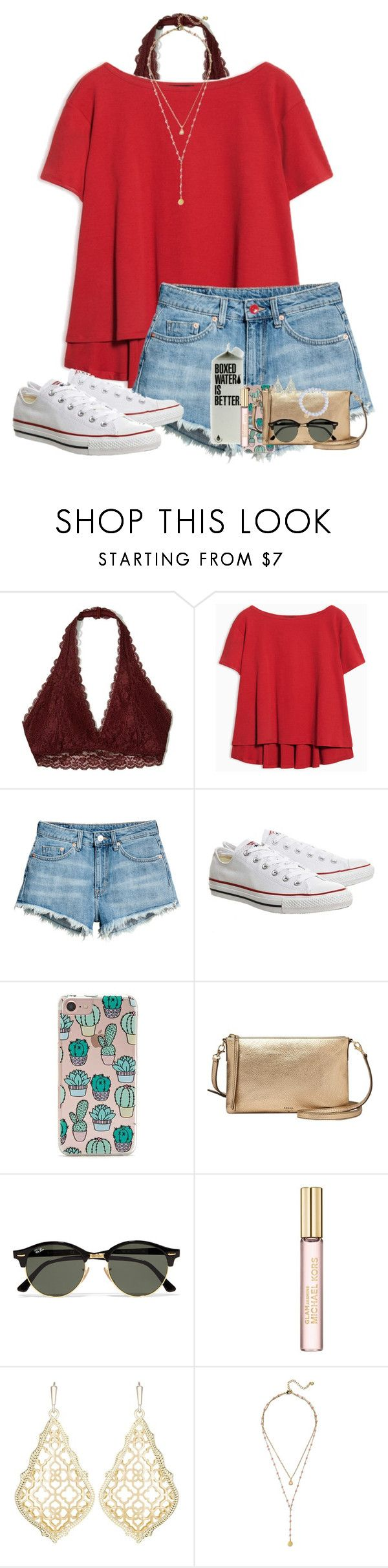 """Not a happy camper y'all"" by auburnlady ❤ liked on Polyvore featuring Hollister Co., Max&Co., H&M, Topshop, Forever 21, FOSSIL, Ray-Ban, Michael Kors, Kendra Scott and BaubleBar"