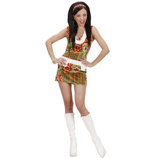 Sixties jurkje voor vrouwen flowers  Sexy jaren 60 jurkje voor dames. Leuk vrolijk jaren 60 jurkje met print in de kleuren geel rood groen en oranje. Het sixties jurkje is zonder mouwtjes en heeft een witte band om de taille heen. Inclusief sixties haarband. Perfect jurkje om in de sixties stemming te komen!  EUR 26.95  Meer informatie