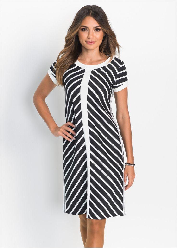 Jurk wolwit/zwart gestreept nu in de onlineshop van bonprix.nl vanaf ? 34.99 bestellen. Mooie jurk met diagonale strepen all-over en contrastkleurige ...