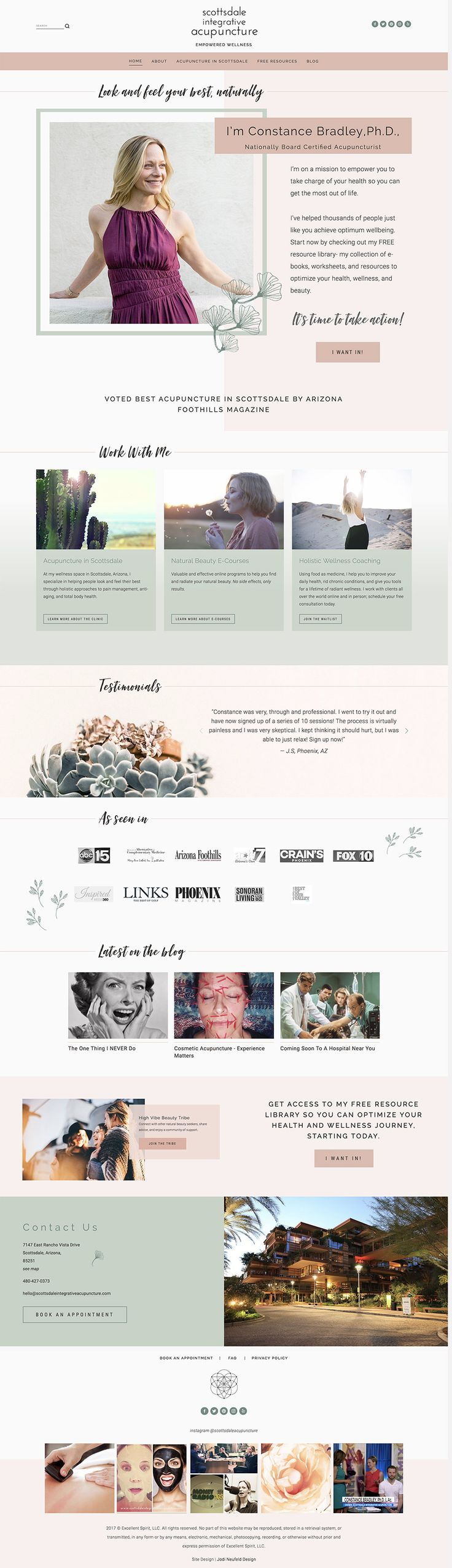 Squarespace web design | Home page for Acupuncture site | Jodi Neufeld Design