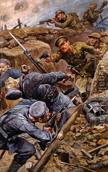 Captain Reginald James Young winning the Military Cross at the Battle of the Somme, 1916  By Stanley L. Wood (1866-1928)
