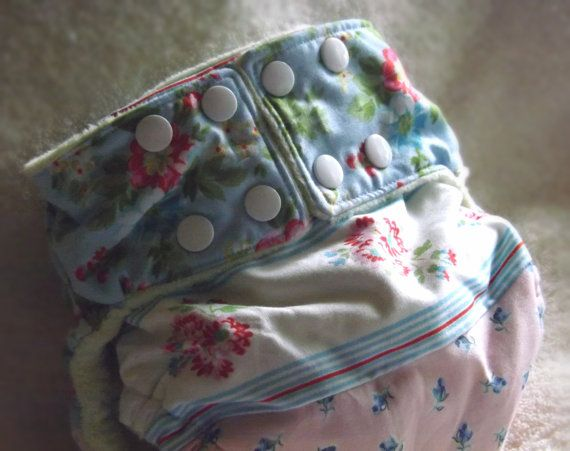 Medium pocket diaper, girly, frilly, lace, Victorian-style print, super soft.