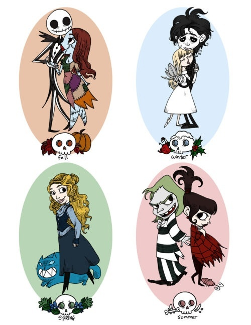 Nightmare Before Christmas, Edward Scissorhands, Alice in Wonderland, Bettlejuice