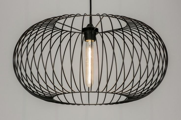 Hanglamp 10136: Modern, Metaal, Zwart, Rond