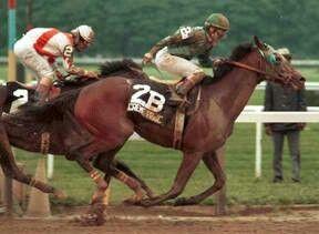 Creme Fraiche. 1985 Belmont Stakes winner. Jockey: Eddie Maple. Winning time: 2:27:00