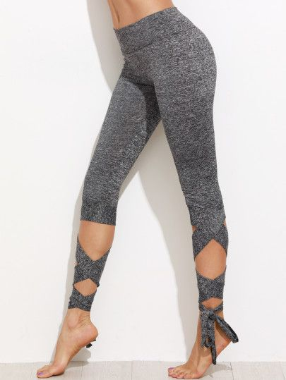 Gris Marled tricot Cropped Tie Leggings