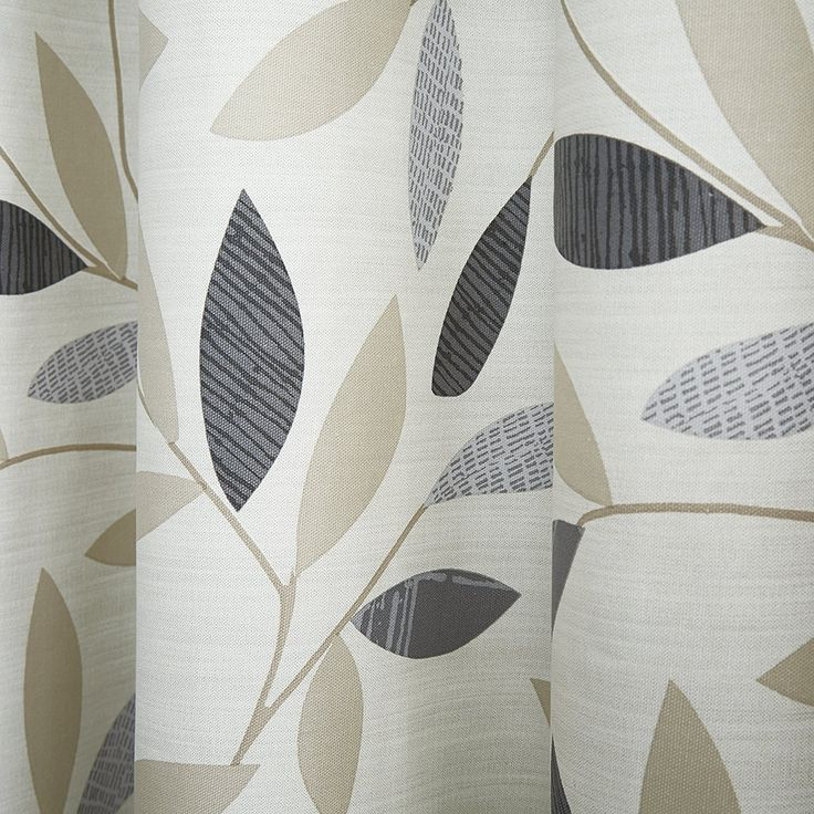 """Fusion 'Beechwood' 100% Cotton Face Modern Grey and Beige Leaf Trail with contrasting Top Border On Light Cream Ground Lined Eyelet Curtains, 90x90"""""""