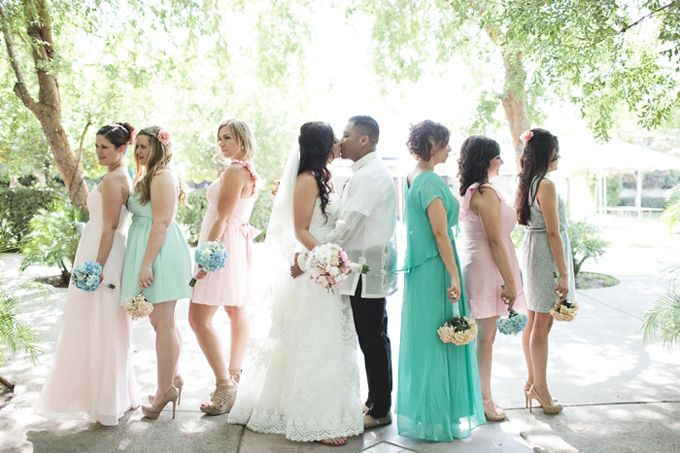A Mint and Blush DIY Wedding, like the girl's color of dress on the far right
