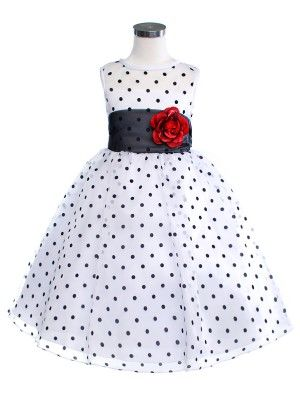 White/Black Lovely Polka Dots Flower Girl Dress