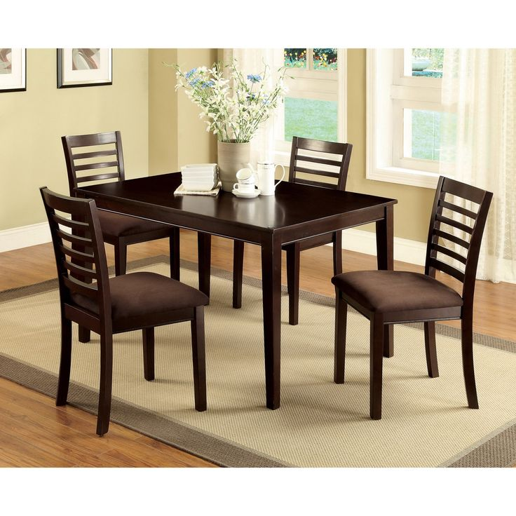 Dining Room Black Wooden Color Of 5 Piece Dining Set With Cream Rug Under  The Table