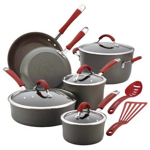 Enhance the cooking experience with the durable, artisan-styled pots and pans in the #Rachael Ray #Cucina Hard-Anodized Nonstick 12-Piece Cookware Set. Sturdily c...