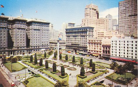 """""""Union Square, San Francisco, Calif. Occupying a full square block in downtown San Francisco, Union Square is a green oasis in the center of the hotel, theatre and shopping districts. Beneath the entire square is a 1700-car garage with access on all four sides."""" ....WAS a green oasis... #sanfrancisco"""
