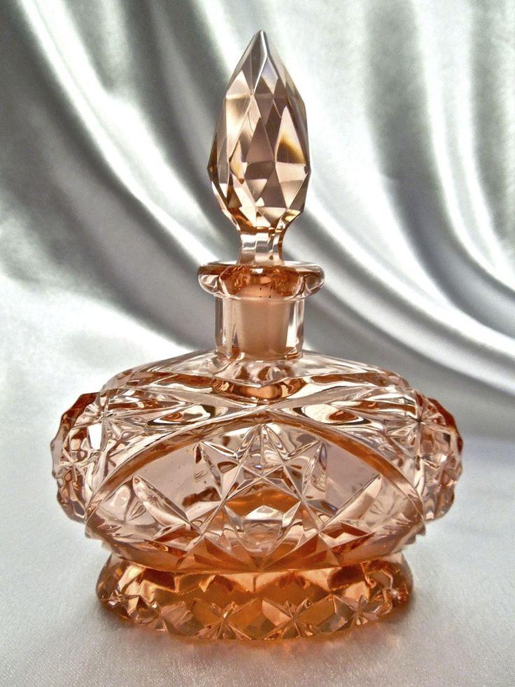 Antique Czech Pink Crystal Glass Perfume Bottle