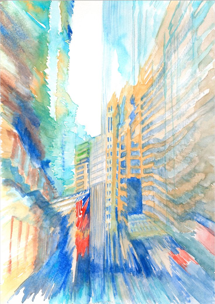 Wall ST II watercolor #illustration #cityscape #city #street #abstraction