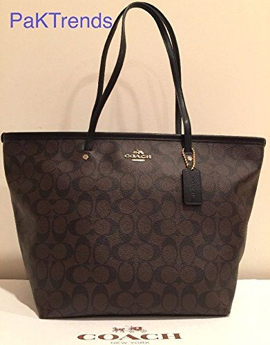 Coach Signature Coh Taxi Zip Tote, F34104, Brown/black
