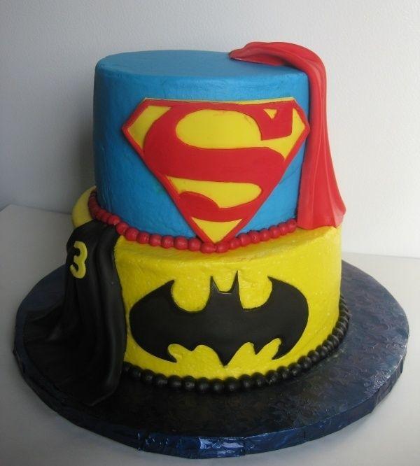 Cool Batman Vs Hot Superman Birtday Cake Fondant Cake