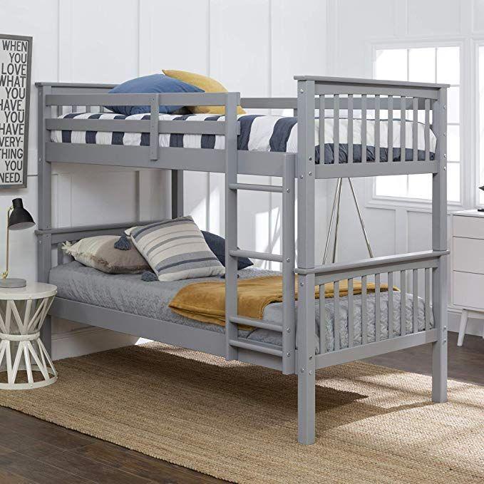 We Furniture Azwtotmsgy Twin Bunk Bed Gray Review Twin Bunk Beds Bunk Beds Kids Bunk Beds