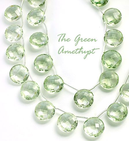 SmartyHands.com: Green Amethyst coin cut SIDE hole 12mm / 2pc