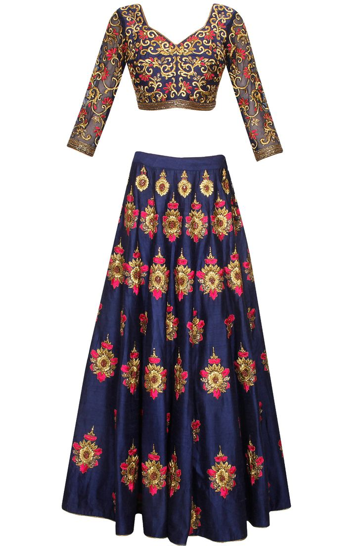 Blue bootis embroidered lehenga set available only at Pernia's Pop Up Shop.