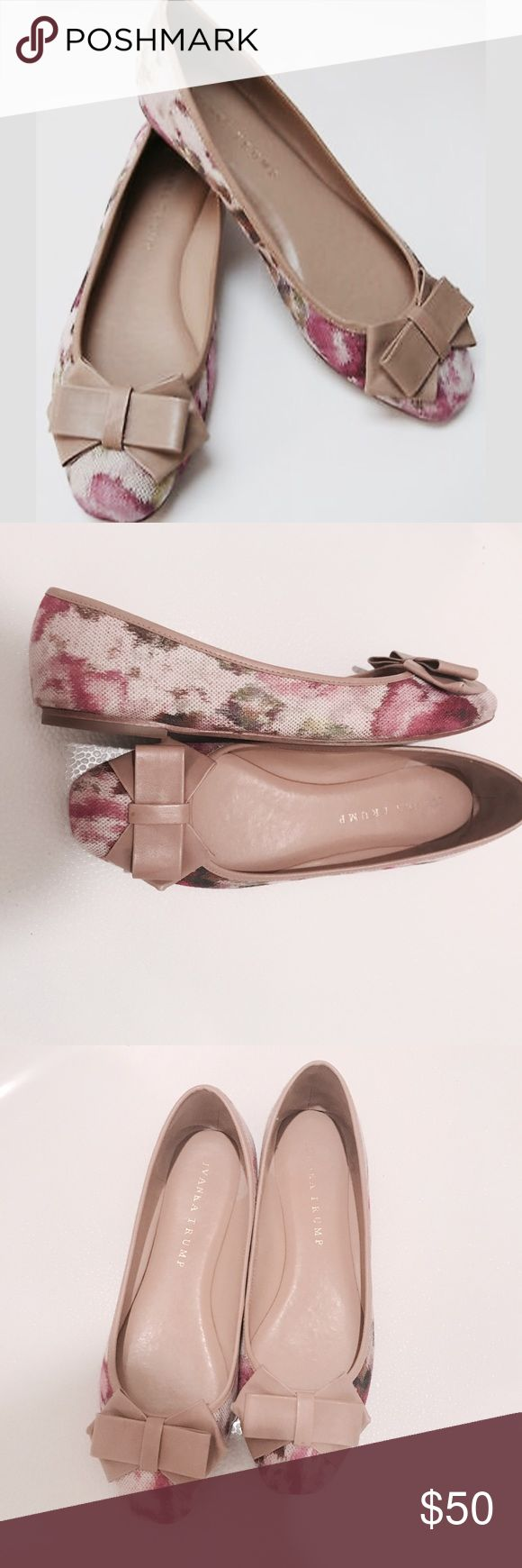 IVANKA TRUMP FLORAL BALLET FLATS WITH BOW SIZE 7.5 Ivanka Trump cloth ballet flats with bow & floral design. Tan insoles. Worn only a hand full of times. Excellent condition. Size 7.5 with medium width. Ivanka Trump Shoes Flats & Loafers
