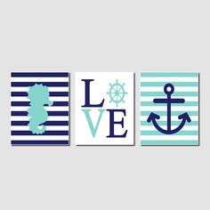 Nautical pépinière marine Aqua Wall Art par LovelyFaceDesigns