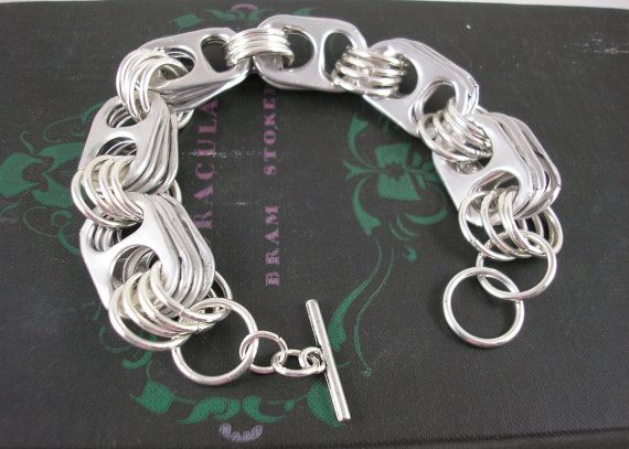 Bracelet made with drink can pulls, if you love chainemaille like me this is ultimate upcycling.