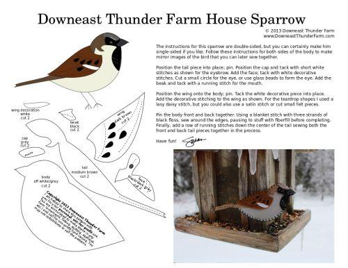 Felt sparrow - lots of other birds in felt here too