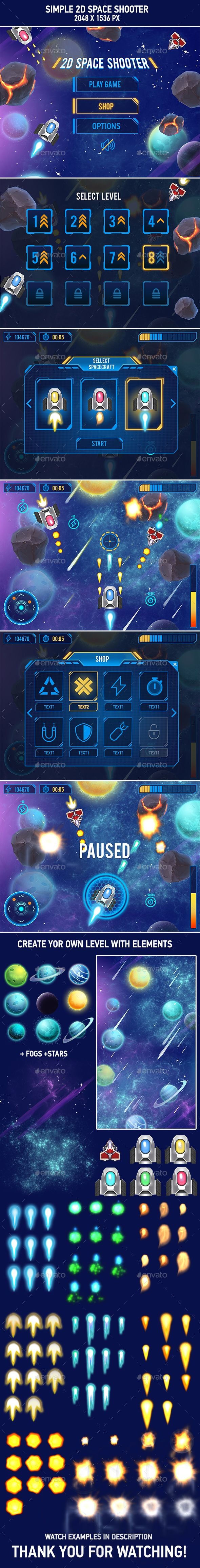 2D space shooter game assets
