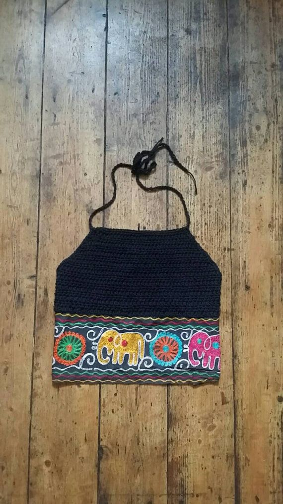Crochet bralette top halterneck crop tops by dollycalledtopsy