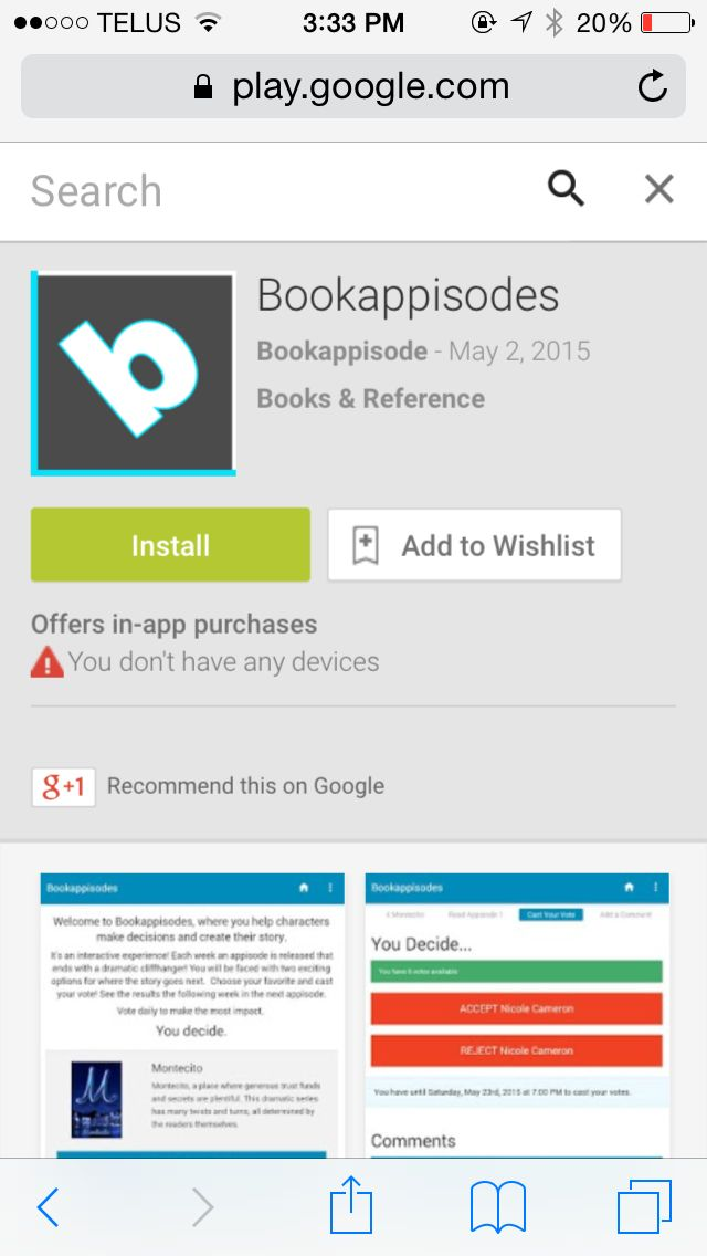 #Bookappisodes is now available on #GooglePlay! Download the free #app and cast your vote - polls close Fridays! (Apple Store app soon to be released)