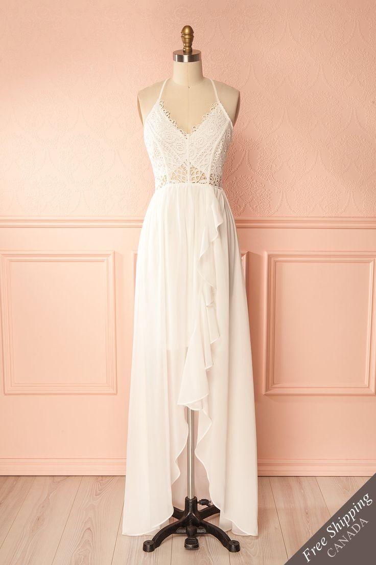 Ivory crocheted lace and chiffon maxi dress - Robe longue ivoire en dentelle crochetée et chiffon