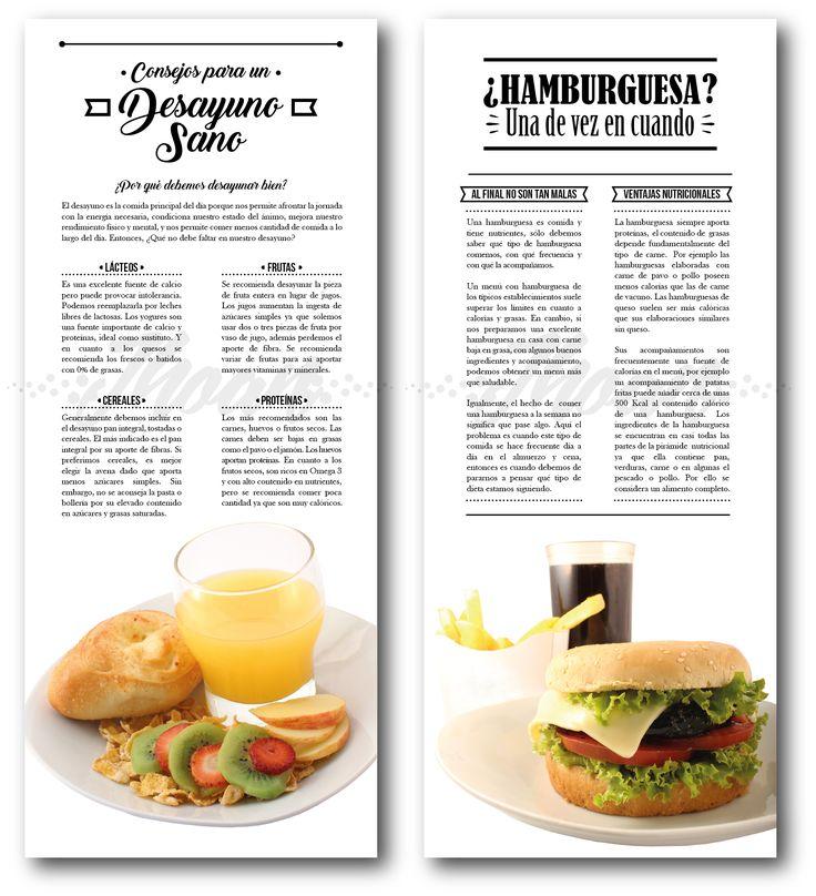Diseño de piezas informativas en relación con la nutrición de los alimentos.