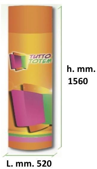BASIC 1560 In cartone a montaggio immediato! Totem pubblicitari in cartone 400 gr., dim. mm. 520 x 1560, con alette interne di sostegno, compresa stampa in quadricromia digitale.