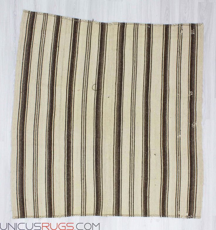 """Handwoven vintage naturel striped kilim rug from Malatya region of Turkey. In very good condition. Approximately 45-55 years old. Width: 6' 4"""" - Length: 6' 5"""" Striped Kilims"""