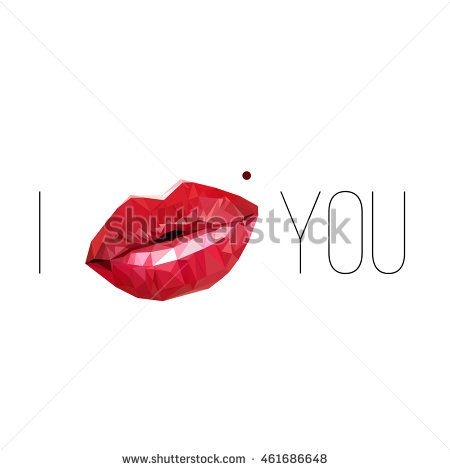 Lips made of small triangles. Abstract polygonal background with descriptions