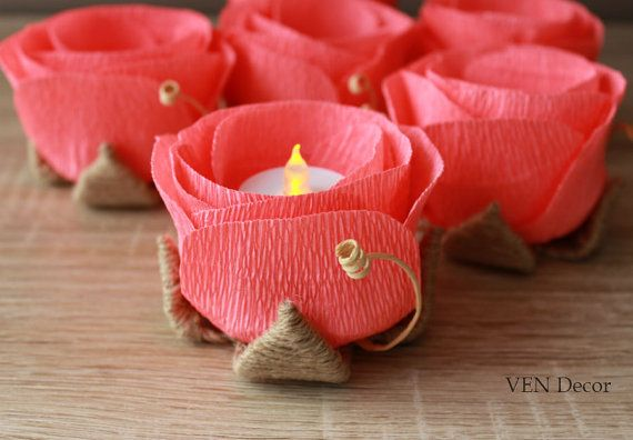 Rustic Wedding Decor 6 Rustic Coral Table by VENDecorHandmade