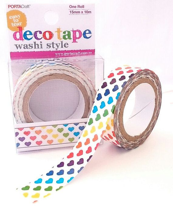 Rainbow heart Japanese style washi tape for decorating and scrapbooking! offered by KazsMannequin