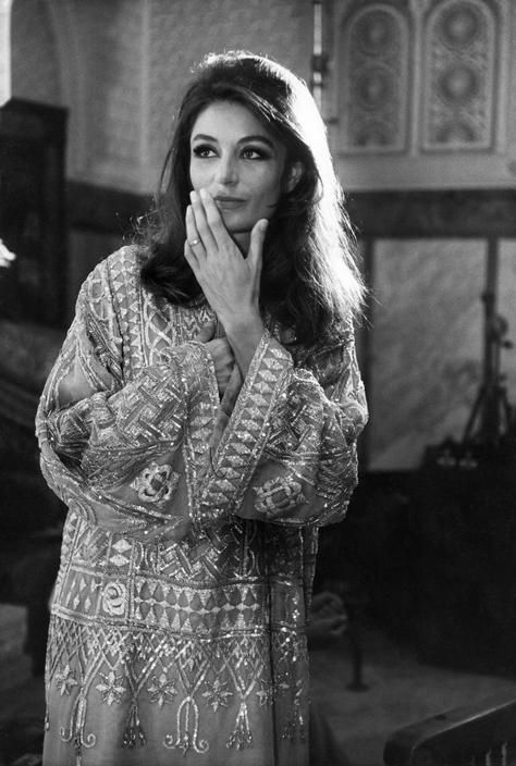 fawnvelveteen:  Portrait of anouk aimée on the set of Justine, directed by George Cukor 1969. Photo by Eve Arnold