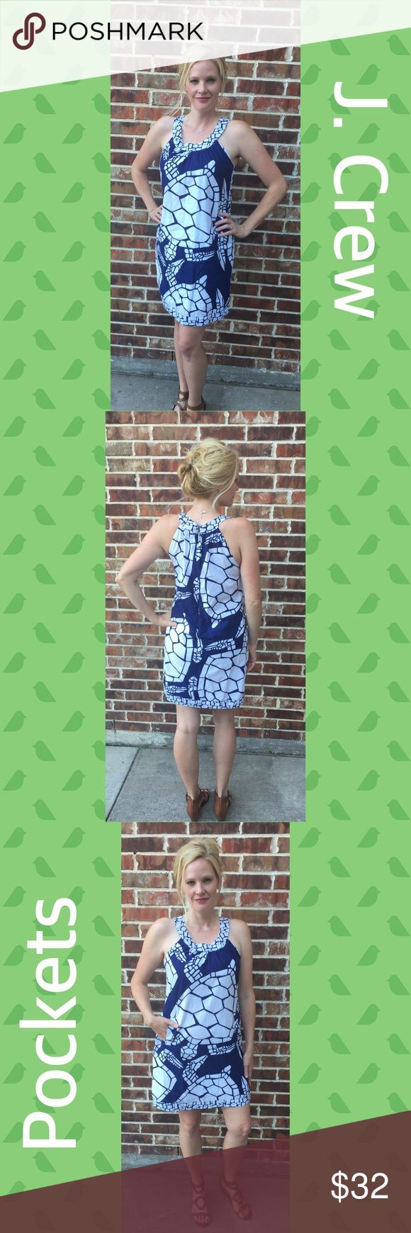 """J. Crew summer print turtle dress 🐢 Summery turtle print navy and white J. Crew dress with pockets. Unfortunately the size tag is missing so I am listing as a medium. I am about 5' 8.5"""" and wear an 8 in Gap clothing if that helps. Approximate measurements: Bust: 19""""▫️Waist 19.5"""" laid flat and measured across▫️Length: 36"""" J. Crew Factory Dresses Midi"""
